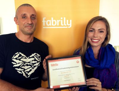 Fabrily Team presents Bat Conservation Trust with fundraising achievement certificate (for raising over £4,000 GBP/ $6,500 USD)