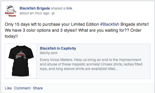 Example of a post shared on the Blackfish Brigade Facebook page - notice the language used (limited edition) and the link they included to the campaign page
